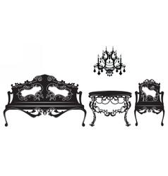 Vintage baroque sofa and armchairs set vector