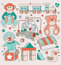 Vintage children toys set vector