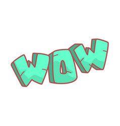 Word wow written in cartoon style colorful vector