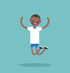 young winking jumping black guy flat editable vector image