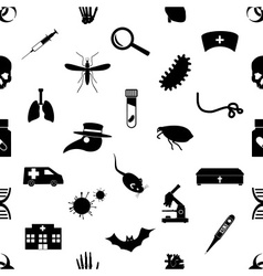 Plague and disease theme simple black icons vector