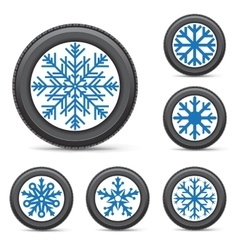 Winter tire snowflake rim vector