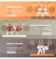 Set of horizontal martial arts concept vector
