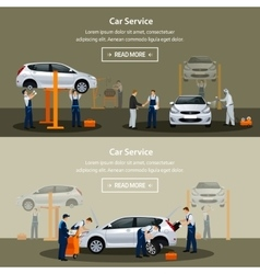 Car repair service flat horizontal banner vector