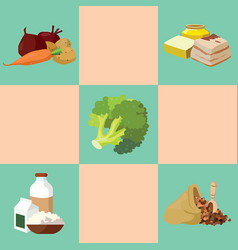 Fat broccoli vegetables cereals dairy products vector