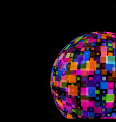 Colorful mirror disco ball on black background vector