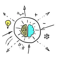Left and right brain hemispheres vector