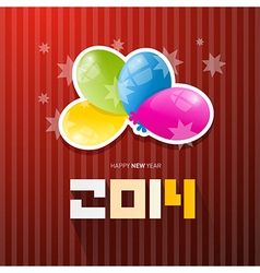 Happy new year 2014 title with colorful balloons vector