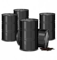 Barrels with oil vector