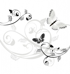 floral pattern with butterflies vector image