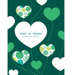 Abstract green circles heart symbol frame vector