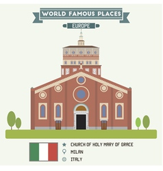 Church of Holy Mary of Grace Milan vector image