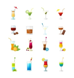 Multicolored cocktail icons set vector