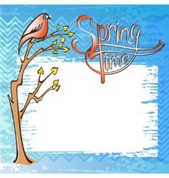 Springtime card with a bird vector