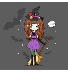 Adorable little witch halloween vector