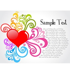 Red heart with colorful floral vector