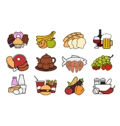 Food and drinks icons set color vector