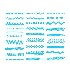 Blue marker strokes set vector
