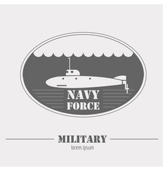 Military logo navy force submarine graphic vector