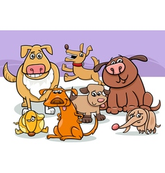cartoon dogs group vector image