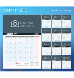 Calendar for 2016 year planner template design vector