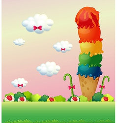 A giant ice cream at the hilltop vector image