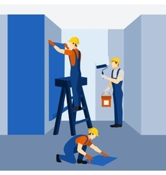 Appartment building renovation work icon poster vector image vector image