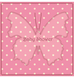 Baby-shower-butterfly-pink-vintage vector image vector image