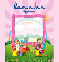 Background template with muslim family in park vector