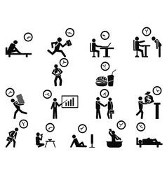 Black businessman time management concept icons vector
