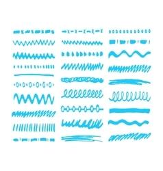Blue Marker strokes set vector image