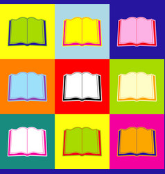 Book sign pop-art style colorful icons vector