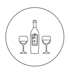 Bottle of red wine with glasses icon in outline vector