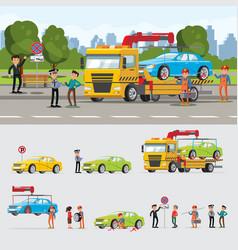 Car evacuation concept vector