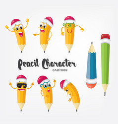 cartoon pencil character isolated emoji vector image vector image