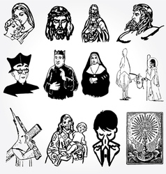 Catholic silhouettes vector