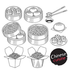 chinese cuisine food doodle elements hand drawn vector image