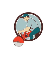 Construction worker concrete saw cutter cartoon vector