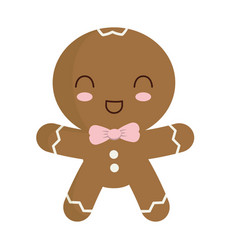 Cute ginger cookie icon vector