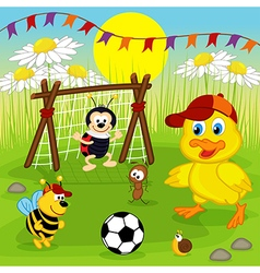 Duckling and insects play football vector