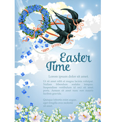 Easter swallow poster for paschal greeting vector