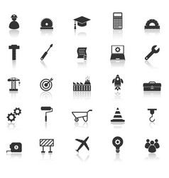 Engineering icons with reflect on white background vector