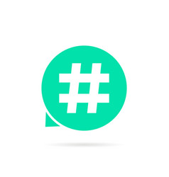 green hashtag logo with shadow vector image