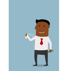 Happy businessman using a deodorant for body care vector