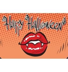 Happy Halloween mouth female vampire vector image