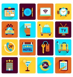 Hotel icons flat set vector image