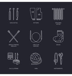 Line icons collection of knitting and vector