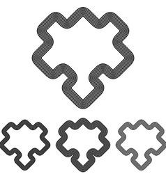 Line puzzle logo design set vector