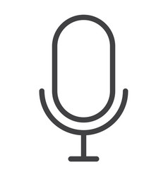 microphone line icon web and mobile record sign vector image
