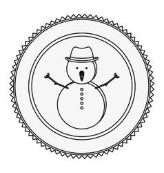 Monochrome contour circle with snowman vector